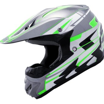 Harga LEVIN Offroad Motocross J2000 Force Motorcycle Helmet (Dark Gray/Neon Green)