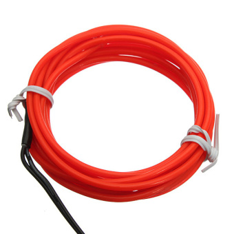Harga 5M Flexible Neon Light Glow Strip Rope EL Wire 12V Inverter For Car Festival Etc (Red)