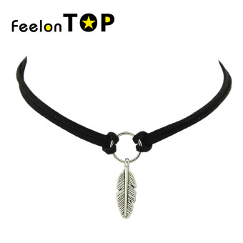 Harga Feelontop New Coming Feather Pendant Pu Leather Choker Necklaces - Intl