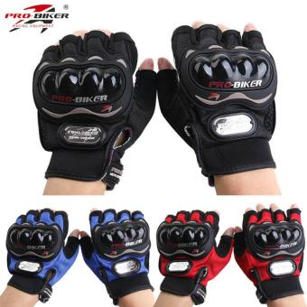 Harga Pro-biker Fingerless Motorcycle Gloves Half Finger Guantes Motorcross Bicycle Riding Racing Cycling Sport Gears Breathable Luvas L (Black)