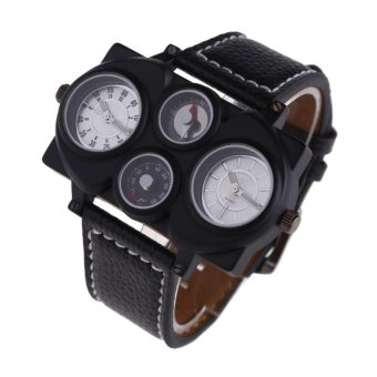 Harga Luxury Men's OULM Military Army Dual Time Zones Movements Watch Leather Sports