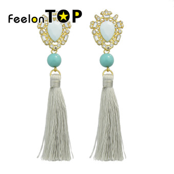Harga Feelontop New Design Rhinestone Long Chain Tassel Earrings Women - intl