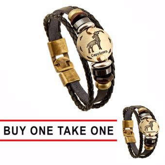 Harga GMY Buy One Take One Men and Women Zodiac Sign Leather Bracelet (Capricorn)