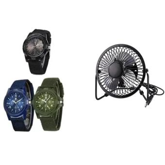 Harga GEMIUS ARMY Military Sport Style Army Men's Green/Blue/Black Canvas Strap Watch Set of 3 With 360-Degree Rotating Metal Blade USB Mini Desktop Cooling Electric Fan