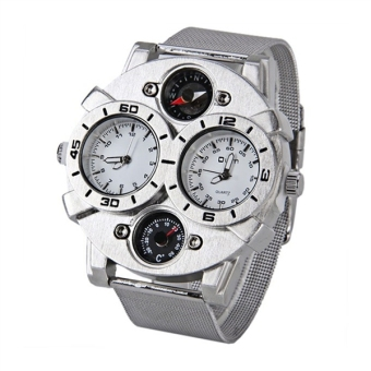Harga Oulm 1166 Men Boys Dual-Time Display Quartz Wrist Watch with Thermometer / Compass / Stainless Steel Band (White)