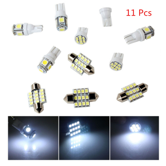 Harga 11pcs White LED Lights T10 & 31mm Dome Map &Tag Lamp for Interior Package Kit - intl