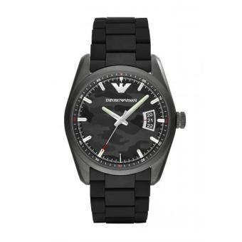 Harga Emporio Armani Sport Rubber Mens Watch Black Stainless Steel AR6052