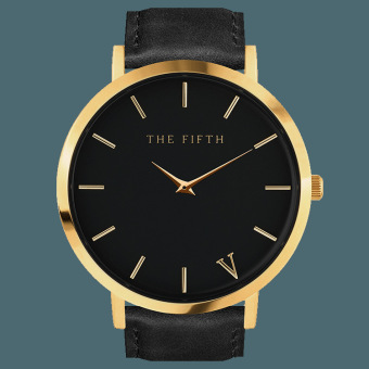 Harga Simple Minimalist Style Leather The FIFTH Black Quartz Gold Alloy Watch