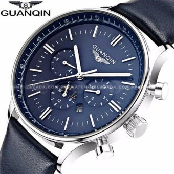Harga Guanqin Premium Sports Horizontal Chronograph Sapphire Glass Cowhide Blue Leather Strap Watch