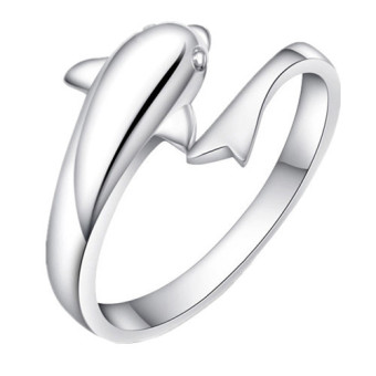 925 Sterling Silver Dolphin Opening Adjustable Ring (Sliver) (Intl) Price Philippines