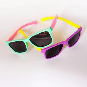 Atlas Apparel Houston Bundle of 2 (Two) Kids Unisex Square Wayfarer Style Sunglasses (Green/Pink) & (Purple/Yellow) Price Philippines