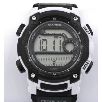 Harga Sanse Water Resistant Uni-sex Watch TPU resin Strap-626 Blak / White