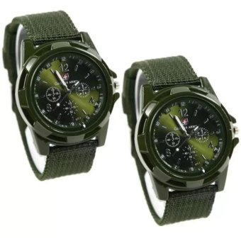 Harga GEMIUS ARMY Military Sport Style Army Men's Green Canvas Strap Watch Set of 2