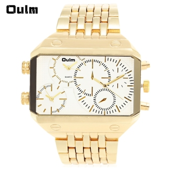Harga Oulm 3285 Men 3-Movt LED Quartz Watch with Stainless Steel Band (Gold) - intl
