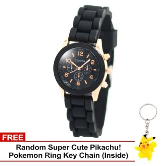 Harga Geneva Little Nikka Women's Silicon Strap Watch (Black) with Free Super Cute Pikachu Key Chain