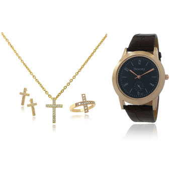 Harga Persian Princess Ayra Holy Cross Jewelry Set Necklace Ring Earrings WITH BUNDLE Destiny Watch (Gold)