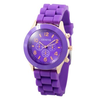 Harga Geneva Nikka Women's Silicon Strap Watch (Purple)