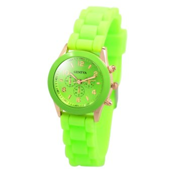 Harga Geneva Little Nikka Women's Silicon Strap Watch (Apple Green)