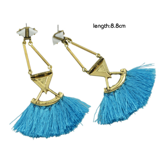 Harga Feelontop Fashion Blue Hotpink Tassel Chain Long Drop Earrings - Intl