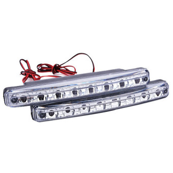 Harga 2 Pieces White Car 8LED DRL Daytime Running Lights Head Lamp (Silver/White)