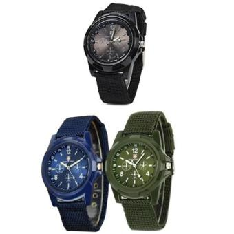Harga GEMIUS ARMY Military Sport Style Army Men's Green/Blue/Black Canvas Strap Watch Set of 3