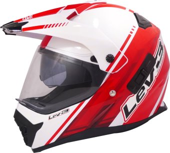 Lev3® DualSport Motard BJ-8910 Chill Motorcycle Helmet (White/Red) Price Philippines