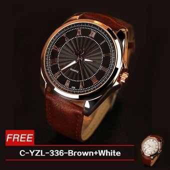Harga Roman Numerals Men's Leather Strap Watch C-YZL-336 (Brown) with Free C-YZL-336 (Brown/White)