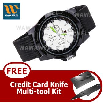 Harga Wawawei GEMIUS ARMY Military Sport Style Army Canvas Strap Watch (Black/Silver) With FREE Credit Card Knife Multi Tool Kit