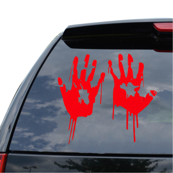 2X Red Bloody Hand Print Vinyl Car Laptop Decal Zombie Horror Creepy Sticker Price Philippines