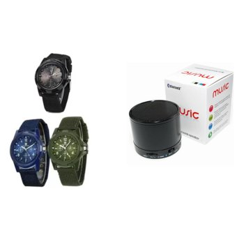 Harga GEMIUS ARMY Military Sport Style Army Men's Green/Blue/Black Canvas Strap Watch Set of 3 With Mini Bluetooth Speaker with MP3 Player