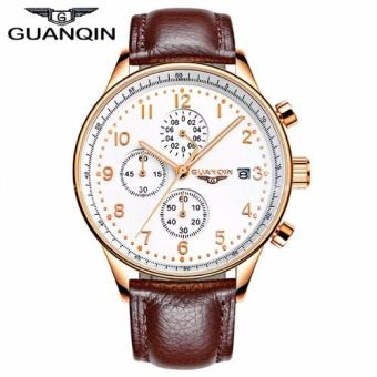 Harga Guanqin Premium Sports Vertical Chronograph Sapphire Glass Cowhide Leather Strap Watch
