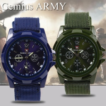 Harga GEMIUS ARMY Military Sport Style Army Men's Green/Blue Canvas Strap Watch