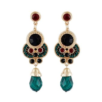 Harga Feelontop Fashion Bohemian Rhinestone Drop Earrings (Intl)