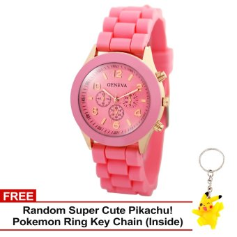 Harga Geneva Nikka Women's Silicon Strap Watch (Baby Pink) with Free Super Cute Pikachu Key Chain