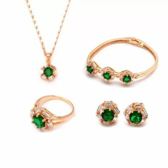 14k bangkok gold Emerald Diamond Jewelry Set (Gold) Price Philippines