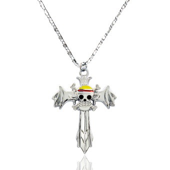 ANIME ZONE One Piece Anime Straw Hat Pirate Cross Fashionable Pendant Necklace (Silver) Price Philippines