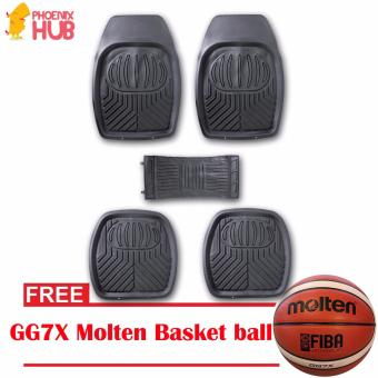 PhoenixHub All Weather Rubberized UNIQUE Designed universal floor guard car mats set (BLACK) With FREE GG7X Molten Basket ball Price Philippines