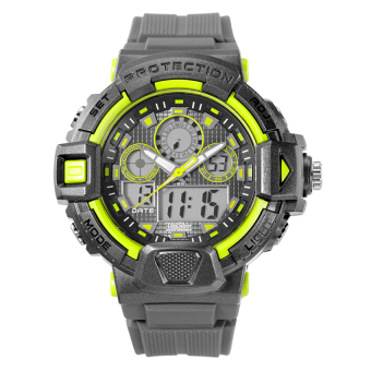 Harga UniSilver TIME TechnoPhunk Men's Gray / Lime Green RubberWatch KW2027-1001