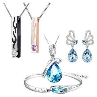 Harga E&E Tears of the Angel Austrian Crystal Jewellery Set (Blue) With Korean-Style Lovers Flame Titanium Necklace