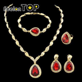 Harga Feelontop Fashion Rose Gold Color Red Rhinestone Wedding Jewelry Sets - intl