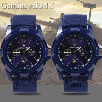 Harga GEMIUS ARMY Military Sport Style Army Men's Blue Canvas Strap Watch Set of 2