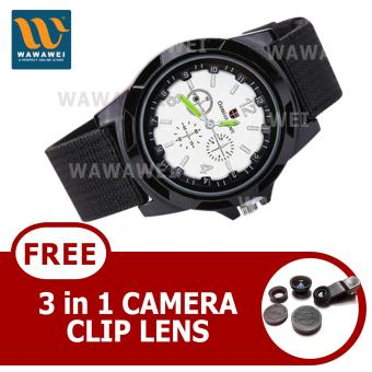 Harga Wawawei GEMIUS ARMY Military Sport Style Army Canvas Strap Watch (Black/Silver) With FREE 3 in 1 Camera Clip Lens