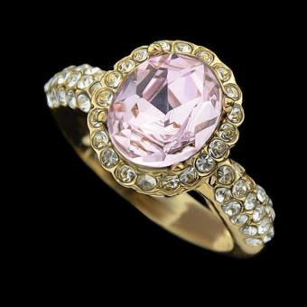 Harga Pink Rhinestone Gold Color Alloy Wedding Women Rings - Intl