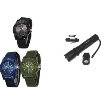 Harga GEMIUS ARMY Military Sport Style Army Men's Green/Blue/Black Canvas Strap Watch Set of 3 With Rechargeable Police Flashlight with Stun Gun Taser