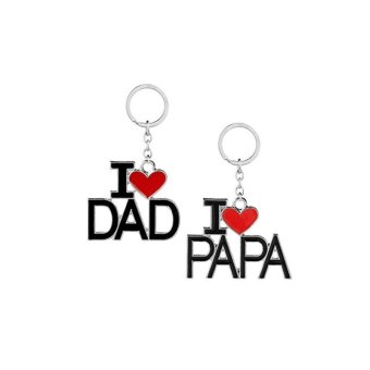 Harga 2pcs I LOVE DAD Key Chain I LOVE PAPA Key Ring for Father's Day Dad Gift - intl