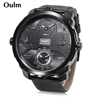 Harga Oulm HP3749 Outdoor Sports Quartz Watch Luminous Four Time Zones Display 3ATM Wristwatch (Blue)