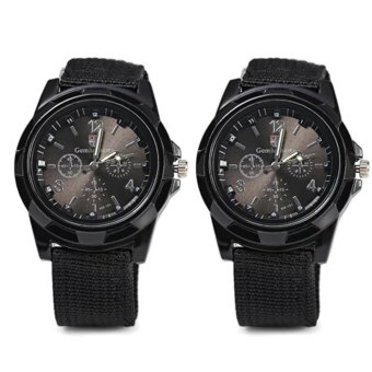 Harga GEMIUS ARMY Military Sport Style Army Canvas Strap Watch (Black) Set of 2
