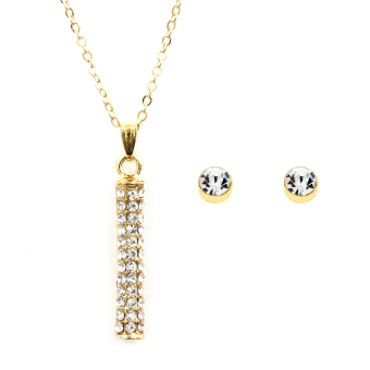 Bling Bling Line Necklace and Round Crystal Earring Jewelry Set (Gold) Price Philippines
