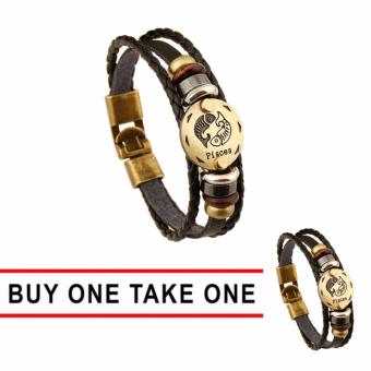 Harga GMY Buy One Take One Men and Women Zodiac Sign Leather Bracelet (Pisces)