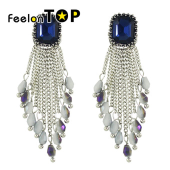 Harga Feelontop New Fashion Rhinestone Beads Chain Chandelier Earrings - Intl